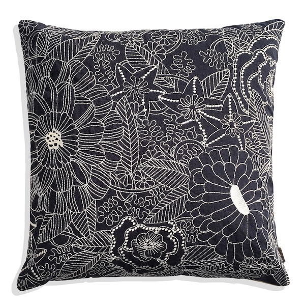 Beige Floral Navy Cushion