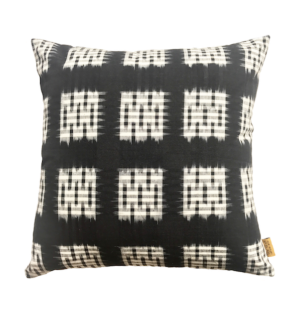 Dropped Check Ikat Cushion