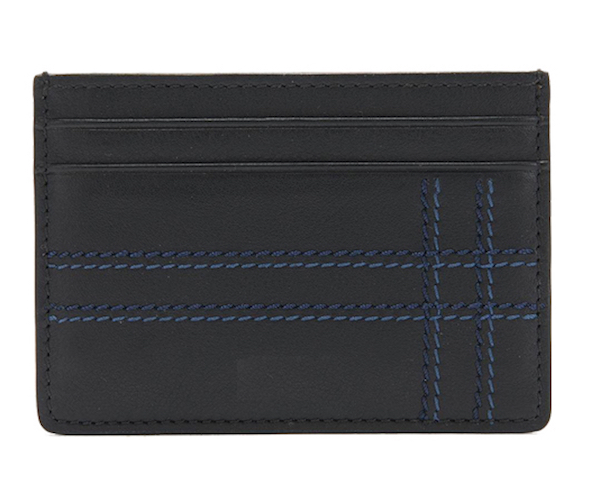 Leather Card Case: Blue Stripe