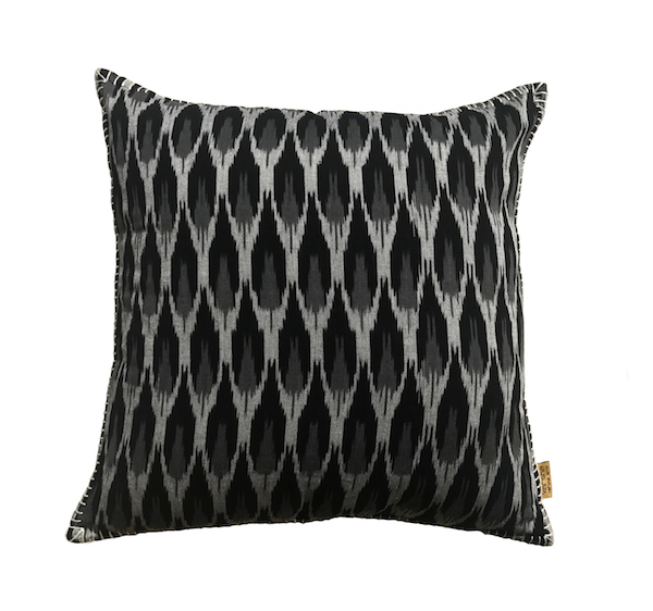 Black Grey Chevron Ikat Cushion
