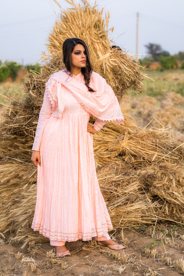 Pink Anarkali With Pant